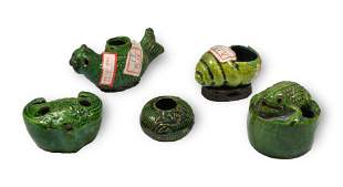 5 Chinese Green Glazed Water Coupes, 19th Century