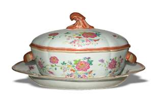 Chinese Export Famille Rose Porcelain Tureen
