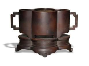 Chinese Quatrefoil Bronze Censer