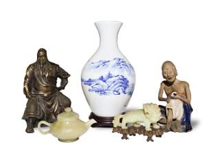 5 Chinese Jade Beast with Teapot, Figures and Vase
