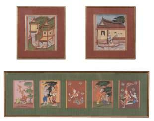 Group of Seven Burmese Manuscript Paintings