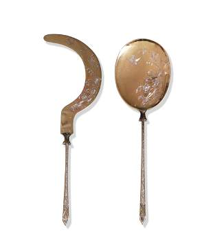 French Silver Vermeil Ice Cream Cutter and Spoon