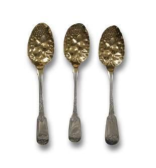 3 Georgian Sterling Berry Spoons, 1772, 1776, 1783