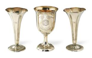 Tiffany and Co Sterling Vases, Gorham Trophy Cup