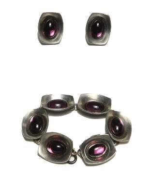 Jorgen Jensen Modernist Bracelet and Earrings