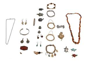 Lot of Sterling and GF Jewelry, Chinese Cinnabar etc