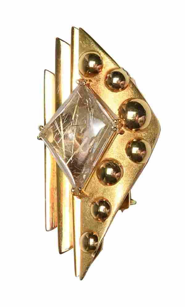 18K Gold Modernist Brooch with Rutilated Quartz