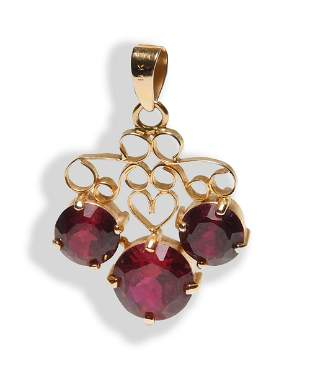 18K Gold and Synthetic 12 Carat Ruby Pendant