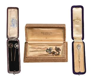 7 Gold and Silver Stickpins with Pearl, Diamonds