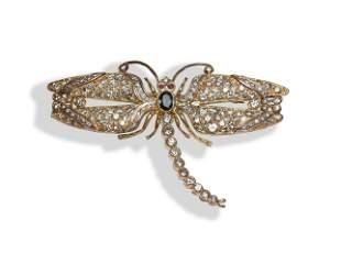 18K Gold, Diamond, Sapphire, Ruby Dragonfly Brooch