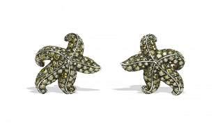 18K Gold Starfish Earrings with Yellow Diamonds