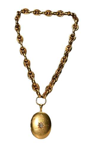 Victorian 14K Gold Chain and Locket with Diamond