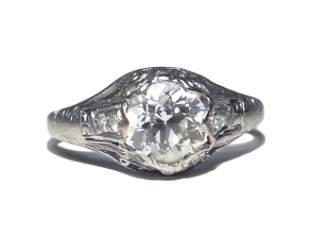 Ladies Platinum and 18K WG 1.6 Carat Diamond Ring