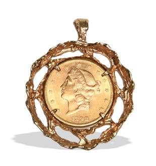 1898-S Gold Double Eagle in 14K Gold Pendant