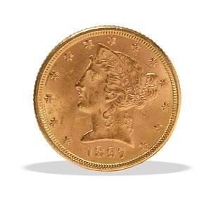 1897 US Gold $5 Liberty Head Regular Strike, AU