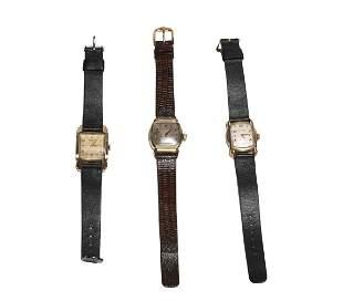 3 Men's Watches 10K GF Cases, Bulova, Hamilton, Et
