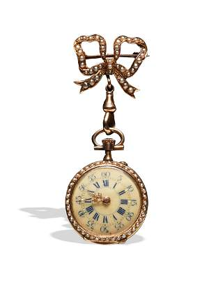 Ladies 18K Gold and Seed Pearl Pendant Watch