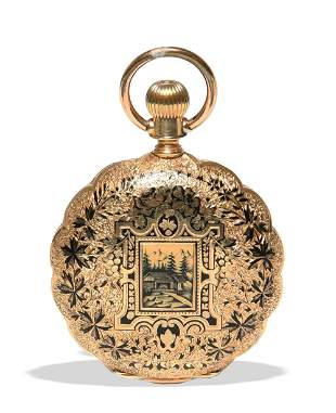 1885 Elgin 15 Jewel 8s in 18K Enameled Case