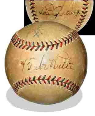 Babe Ruth & Lou Gehrig Signed Baseball