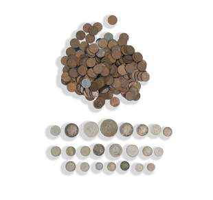23 World Silver Coins, 234 Unsorted Wheat Cents