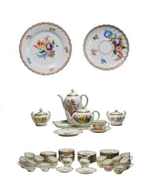 80 Piece Dresden Porcelain Luncheon - Tea Set
