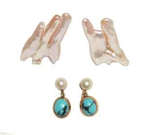 2 Pair 14K Gold, Pearl & Turquoise Earrings