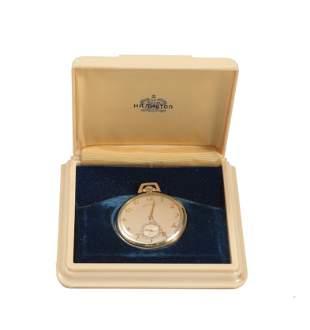 Cased Hamilton 14K GF Presentation Pocket Watch