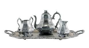 4 Piece Aesthetic Movement Silverplate Tea Set