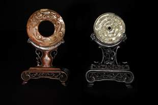 2 Chinese Jade Bi withStands, Ming