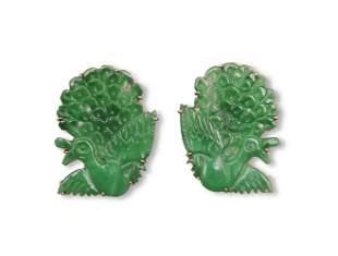 Pair of Chinese Jadeite Peacock Earrings