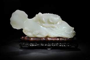Chinese White Jade Carving of a Fish, Ming