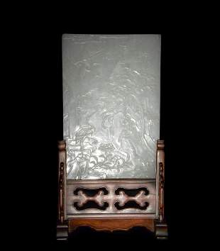 Chinese Carved Jade Table Screen, Early 19th Century