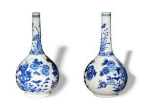 Pair of Chinese Blue and White Dan Vases, Kangxi
