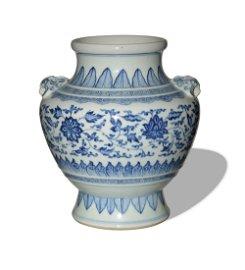 Chinese Blue and White Lotus Zun, Yongzheng