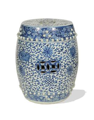 Chinese Blue and White Porcelain Stool, 19th Century