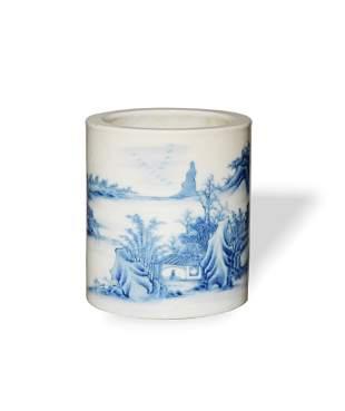 Chinese Blue and White Brush Pot, Republic