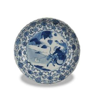 Chinese Export Style Blue and White Plate, Kangxi