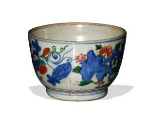 Chinese Blue and White Bowl with Colors, 17th Century