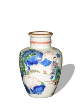 Chinese Blue and White Enameled Vase, 19th Century