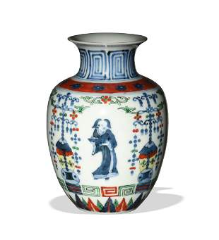 Chinese Blue and White Vase with Colors, 19th Century