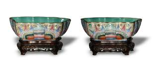 Pair of Famille Rose Butterfly Bowls, Tongzhi
