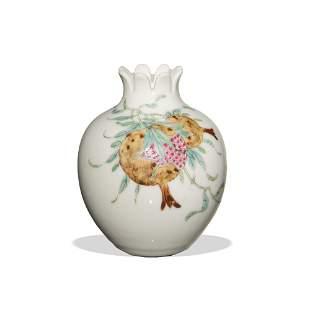 Chinese Famille Rose Pomegranate Vase, Republic