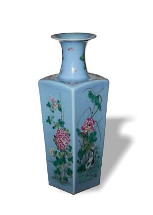Chinese Blue Famille Rose Square Vase, Republic