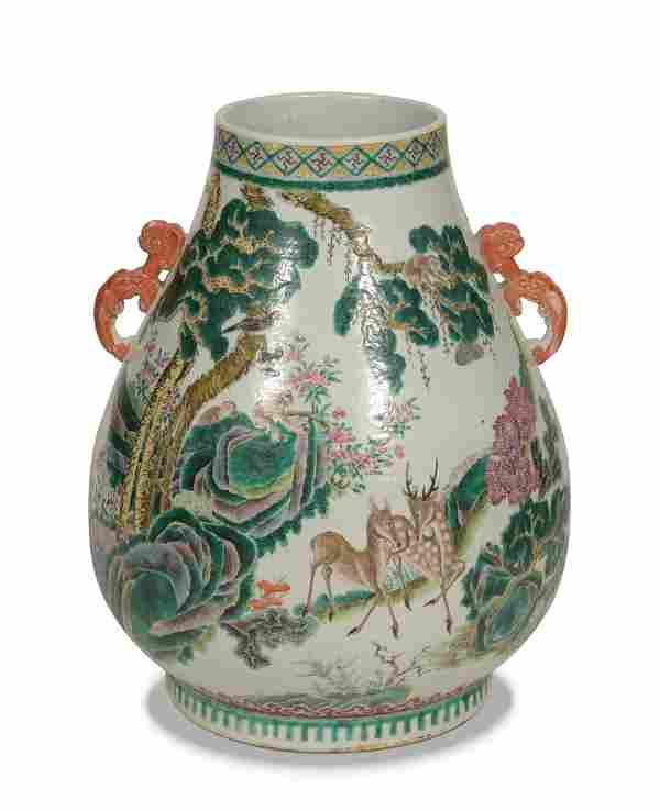 Chinese Famille Rose Hu Vase, 19th Century