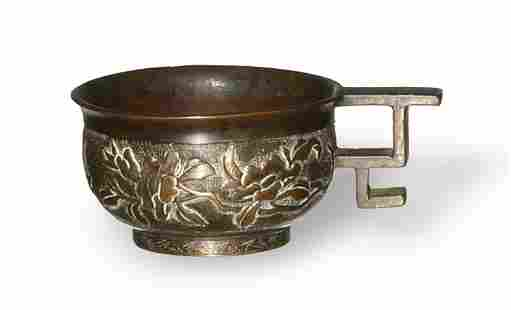 Chinese Bronze Cup with Flowers, 16-17th Century