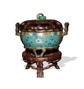 Chinese Cloisonne Censer with Bamboo, 17th Century