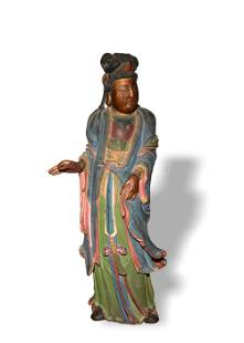 Chinese Wood Carving of Guanyin, 19th Century