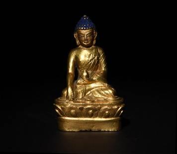 Small Statue of Gilt Bronze Buddha, 18/19th Century