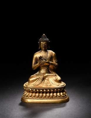 Gilt Bronze Buddha, 18th Century