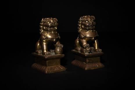 Pair of Chinese Gilt Bronze Lions, 18-19th Century